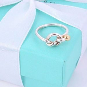 Tiffany & Co. .925 SS and 18K Gold Love Knot Ring